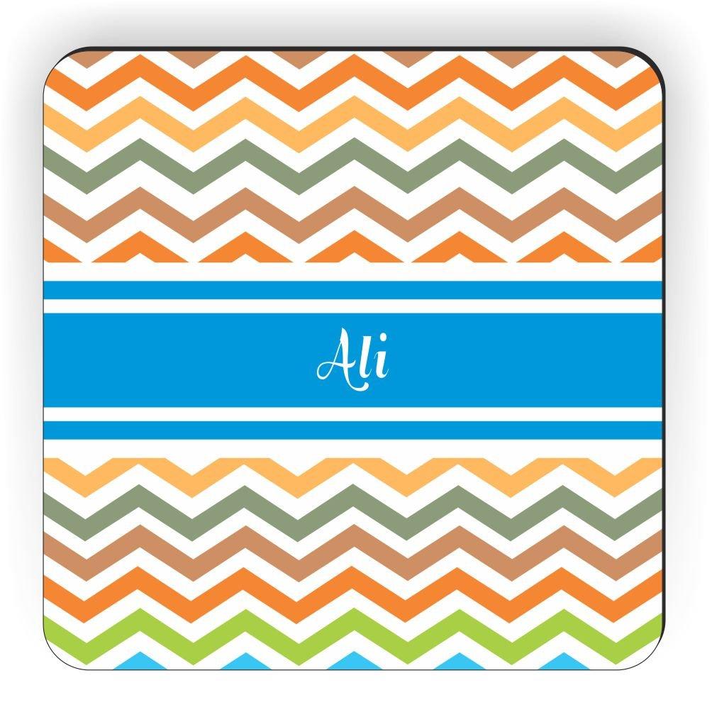 Rikki Knight Ali Blue Chevron Name Design Square Fridge Magnet
