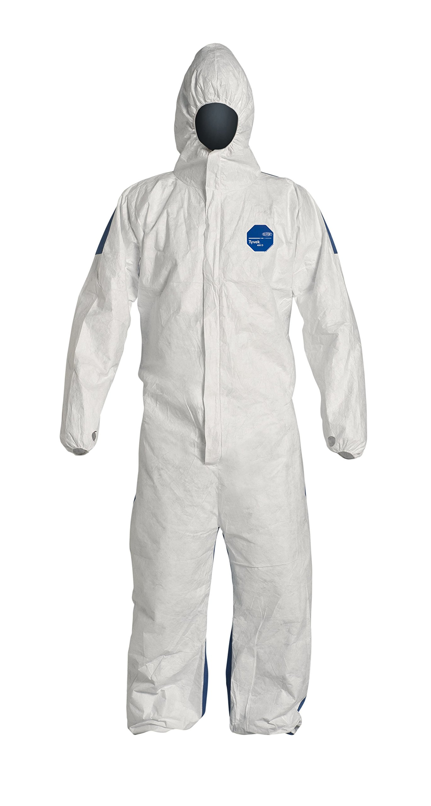 DuPont Tyvek 400D TD127S ProShield Protective Coverall with Zipper Front, Hood and Elastic Cuffs, White/Blue, 2X-Large (Pack of 25)