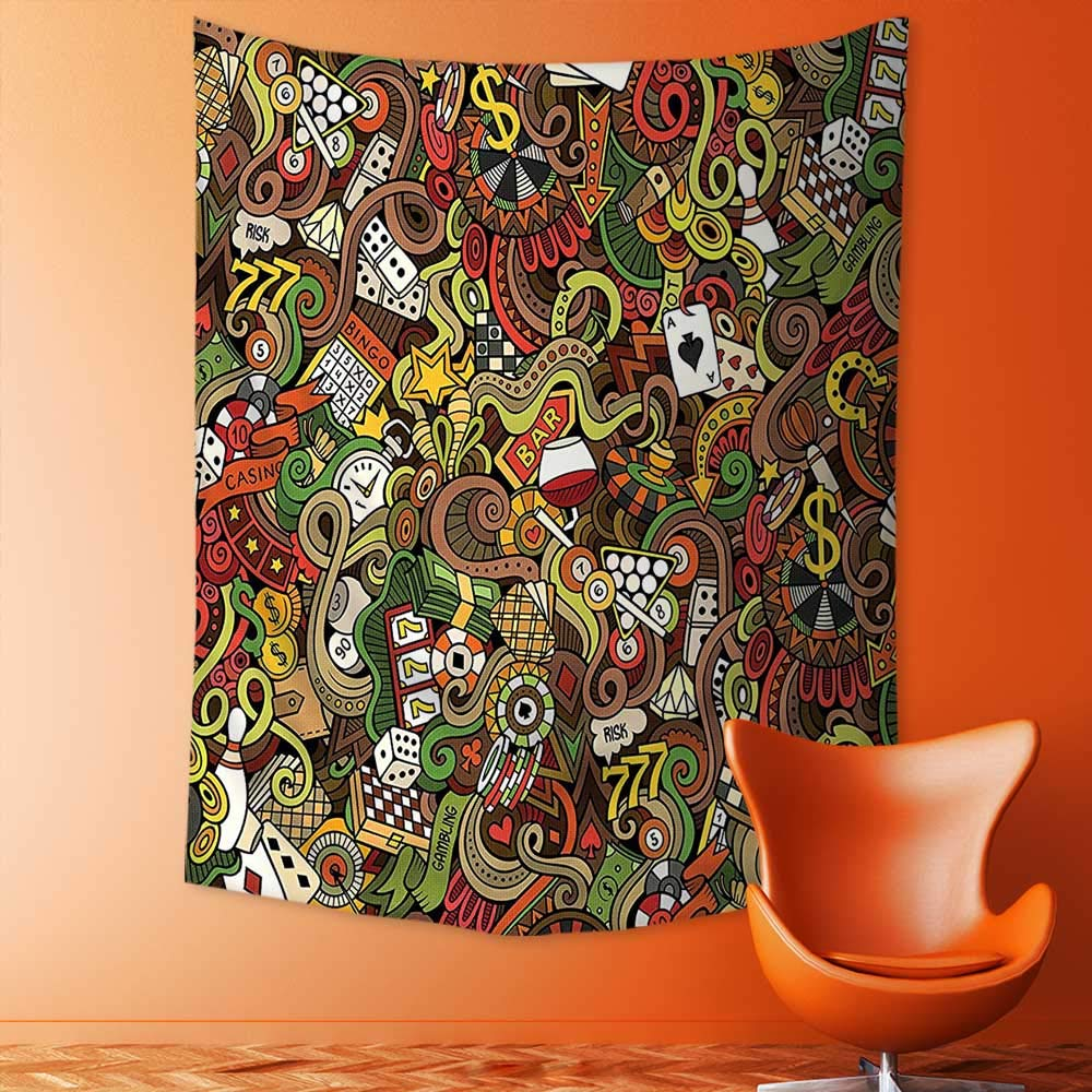 aolankaili Print Decorative Throw Fabric Tapestry Wall Hanging Doodles Style Art Bingo Excitement Checkers King Tambourine Vegas Art Decor for Bedroom