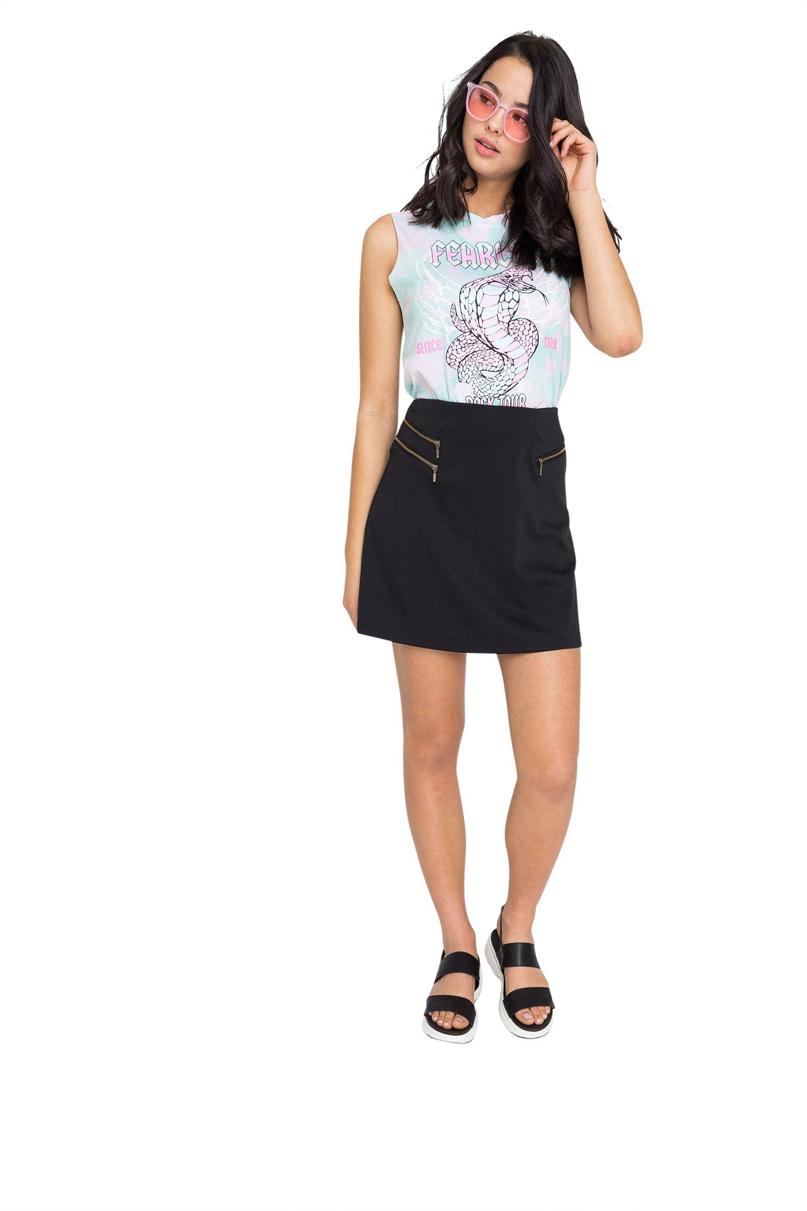 Ardene Women's - Skirts - Faux Zip Mini Skirt Large -(8A-AP01732)