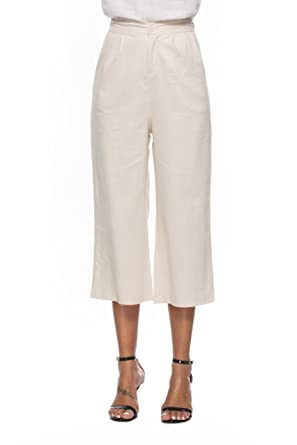 7aafcc6c9a4 Image Unavailable. Image not available for. Color  Prior Jms Women s Cotton  Linen Wide Leg Pants Casual Loose Trousers ...