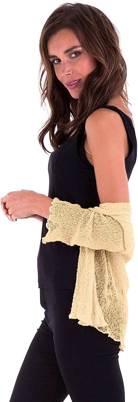 SHU-SHI Womens Sheer Shrug Tie Top Open Front Cardigan Lightweight Knit