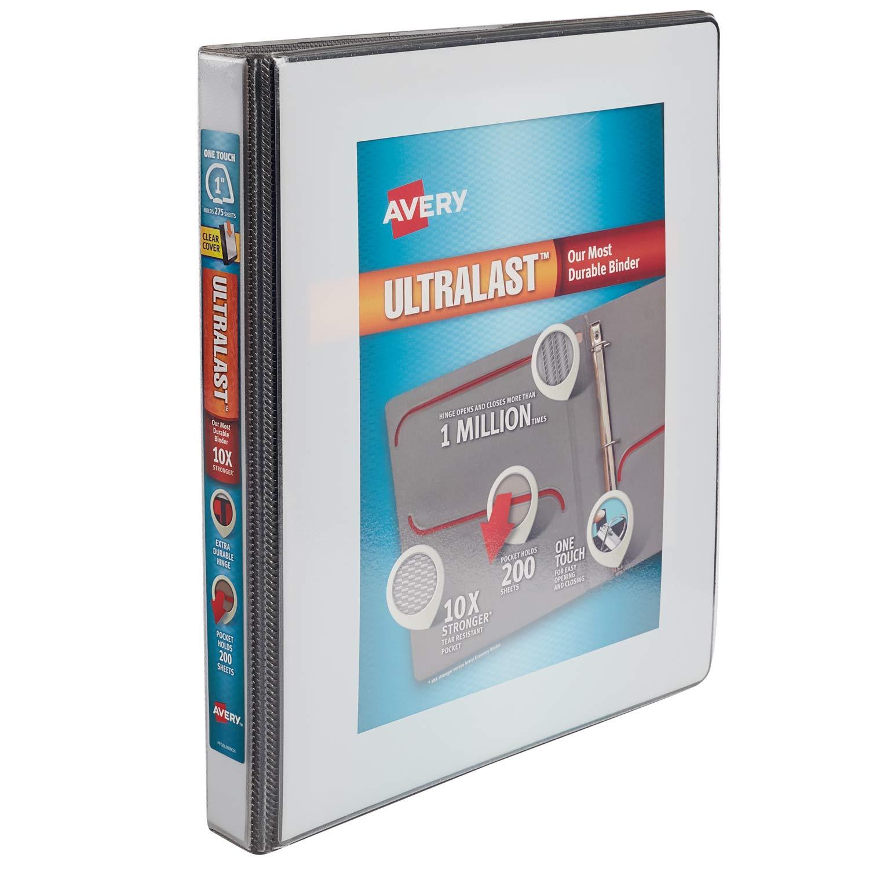 Avery Ultralast cartón con 2,54 cm one touch Slant Anillos, color blanco: Amazon.es: Oficina y papelería