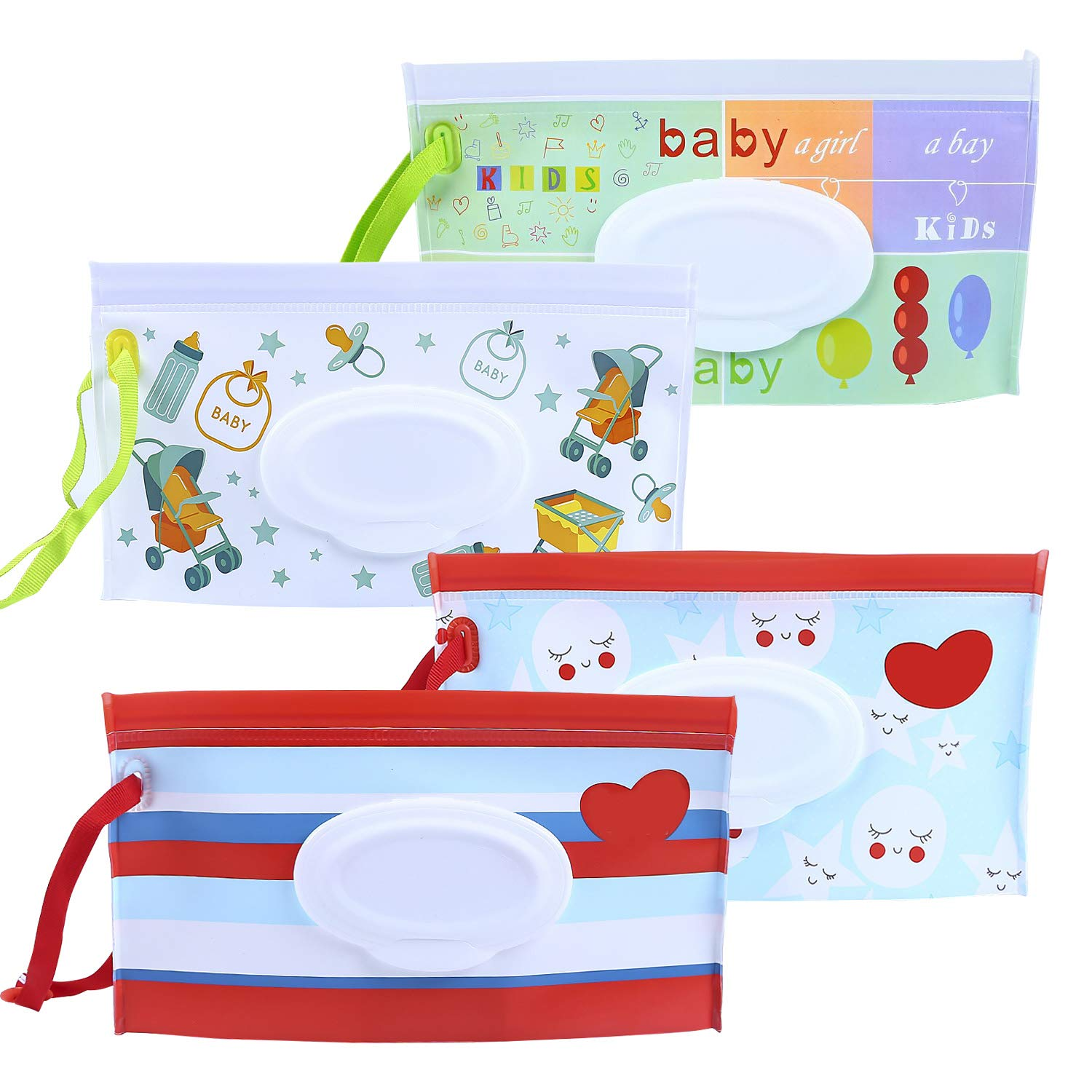 Meetory Reusable Baby Wet Wipe Pouch, Portable Travel Wipes Case Dispenser for Baby or Personal Wipes, Eco Friendly Wet Wipe Box (4 Pack)