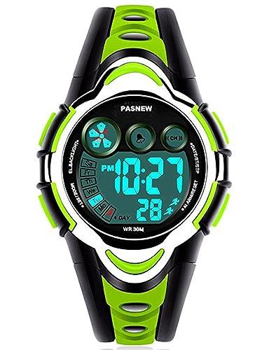Reloj digital LED deportivo impermeable electrónico de pulsera para niño niña regalo verde: Amazon.es: Relojes