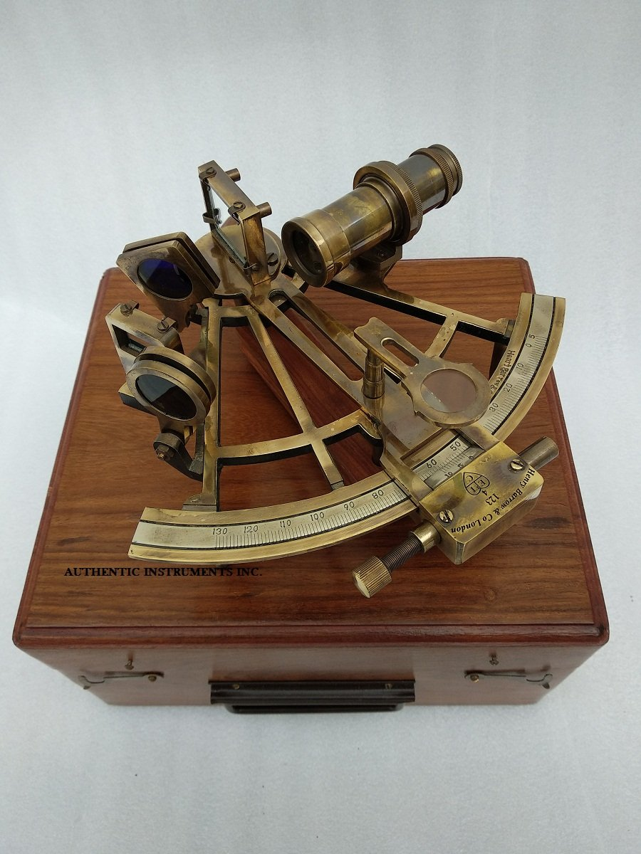 US HANDICRAFTS 8 Inch Maritime Antiques Marine Captain Sextant Brass Nautical Sextant AUTHENTIC INSTRUMENTS INC.