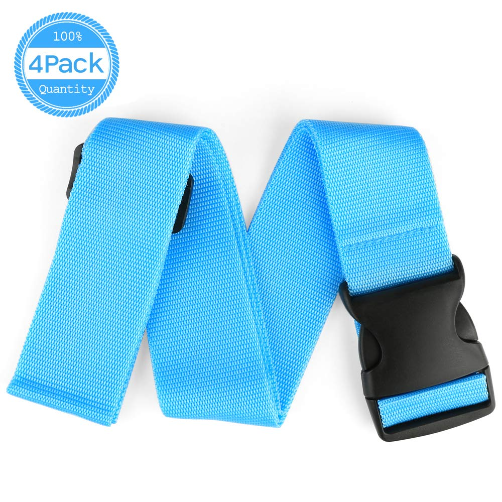 IEKA Luggage Straps, 4Pack Heavy Duty Non-Slip Adjustable Travel Suitcase Belts