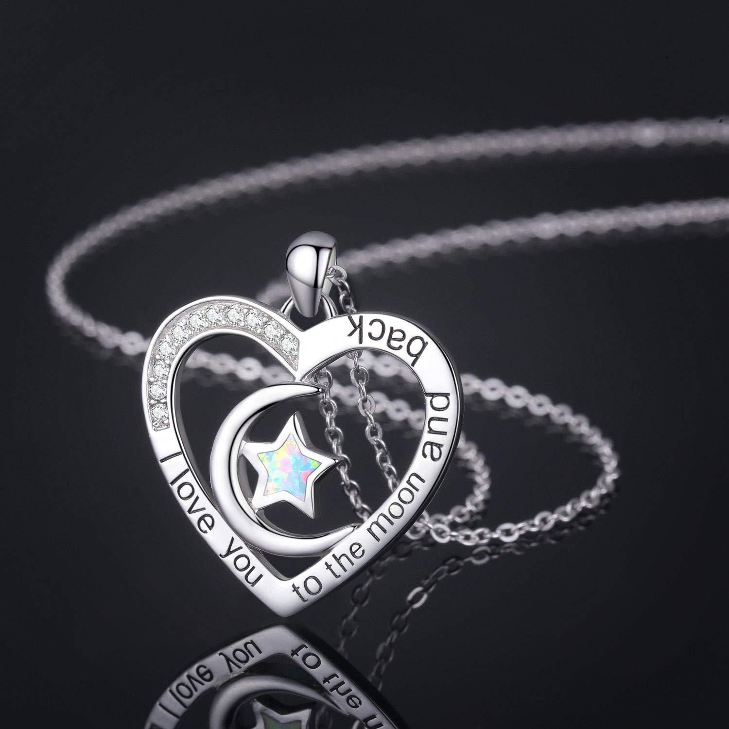 Cuoka I Love You to The Moon and Back Necklace Opal Moon and Star Heart Necklace Mother Gift Mother Necklace Girlfriend Jewelry
