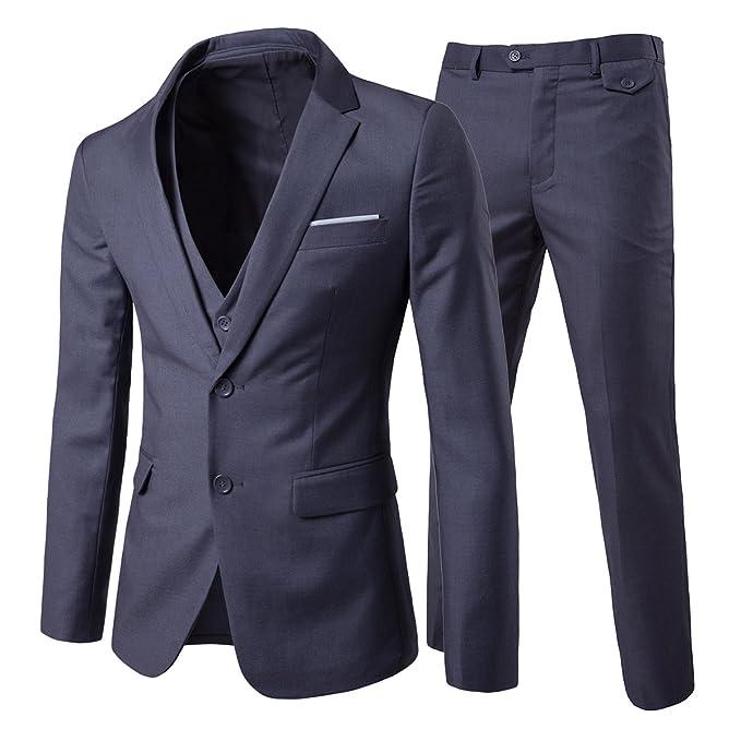 Traje de 3 piezas con chaqueta, chaleco y pantalones, hombre, de cuadros, ajuste moderno