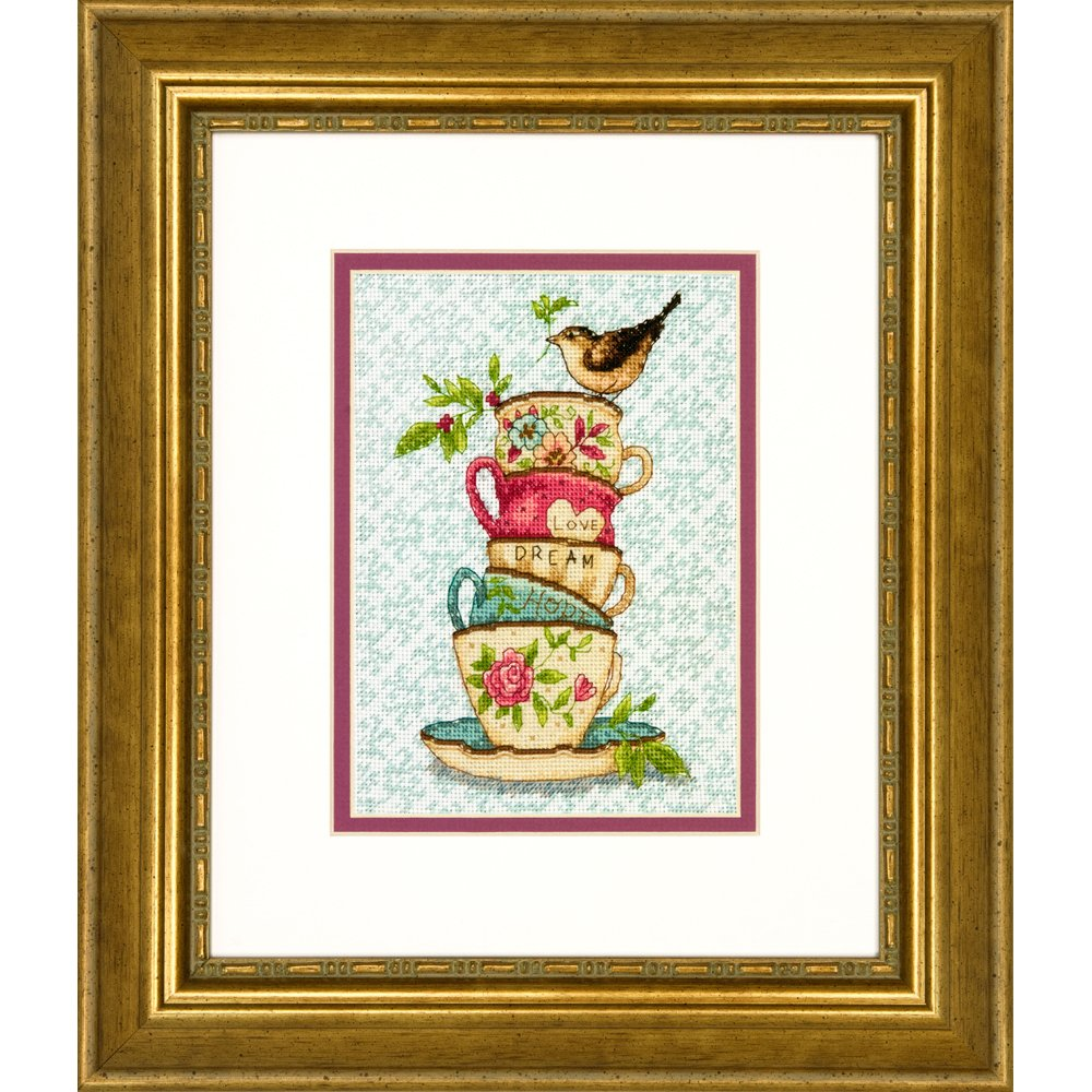 Dimensions Needlecrafts Stacked Tea Cups, Counted Cross Stitch Kit WILTON INDUSTRIES 70-65171