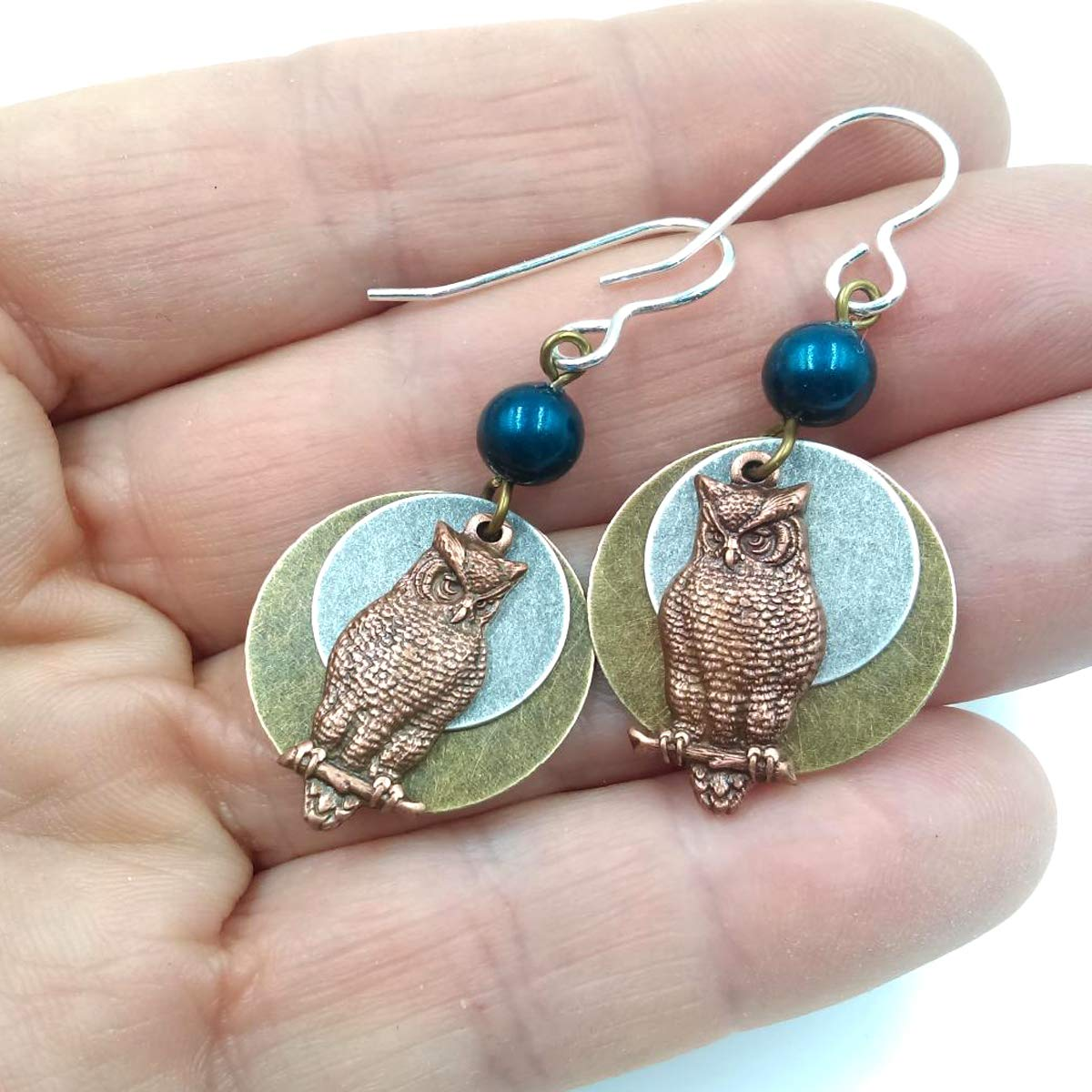 Antique Copper Owls with 2 Flat Round Mixed Metal Circle Earrings with 6mm Dark Teal Bead Dangle Drop