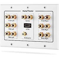 Fosmon HD8006 Placa de distribución de Teatro en casa, conexión Tipo Banana de Cobre Chapado en Oro, distribución Envolvente 7.1, 3 Bandas, 3-Gang 7.1 Surround, 3-Gang 7.1 Surround + HDMI