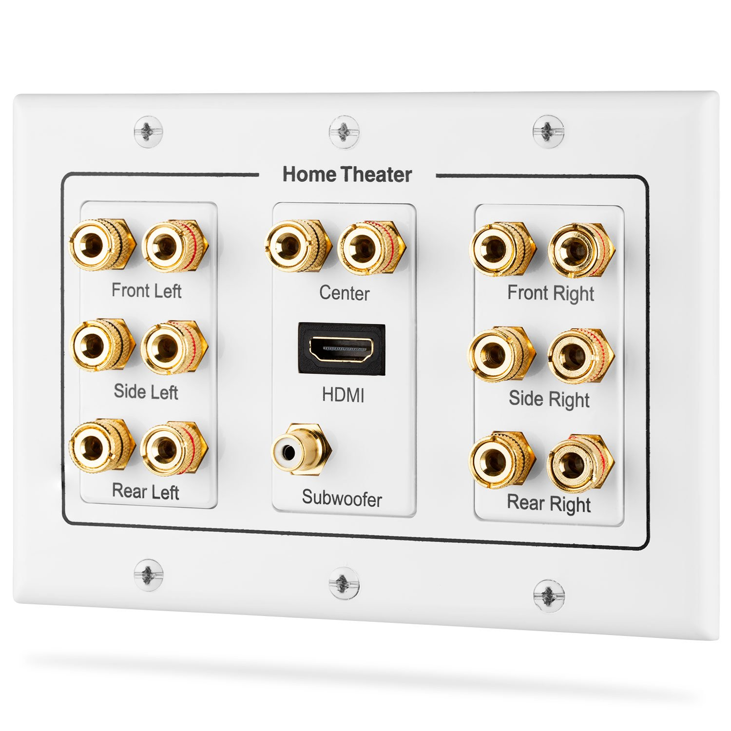 Fosmon [3-Gang 7.1 Surround Distribution] Home Theater Wall Plate, Premium Gold Plated Copper Banana Binding Post Coupler Type Wall Plate for 7 Speakers, 1 RCA Jack & 1 HDMI Port with Ethernet