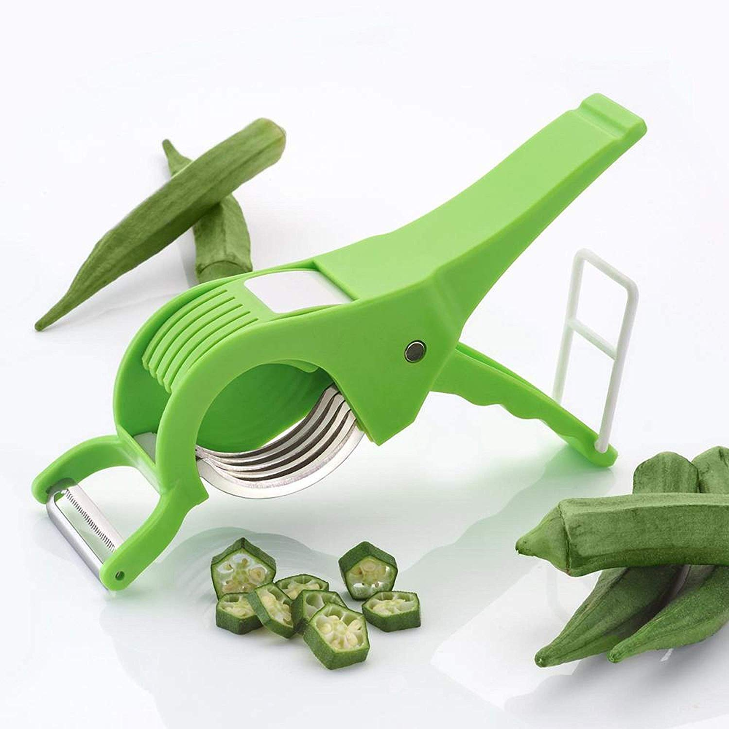 A vegetable peeler for cutting lady finger is used in above image,a best kitchen tool.