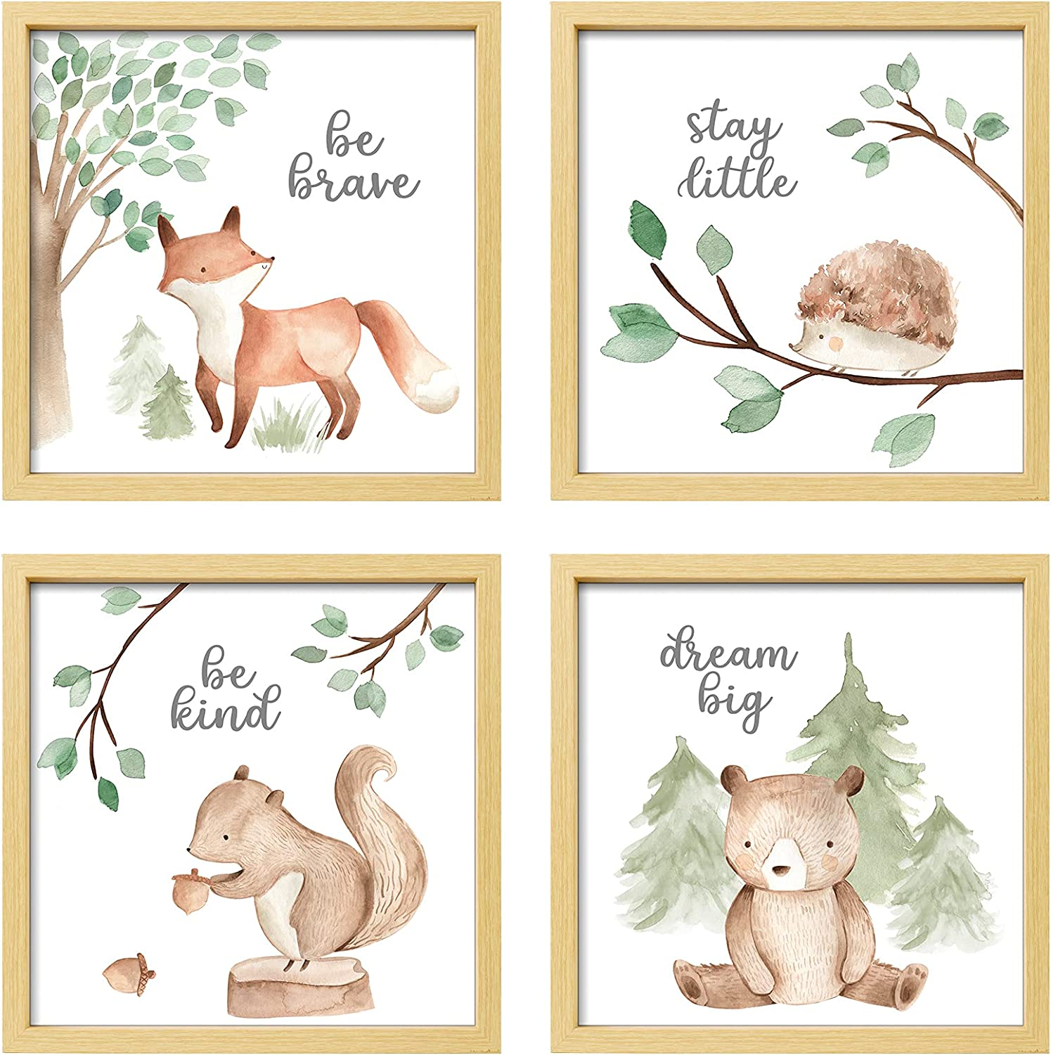 ArtbyHannah 12x12 Inch Picture Frames Framed Woodland Nursery Wall Decor, 4 Pcs Photo Frames with Cute Watercolor Squirrel Forest Animals Nursery Wall Art Prints Gallery Kit Wall Art Decor for Kids Room Girls Boys playroom, Nursery Room Or Home Wall Hanging Decoration