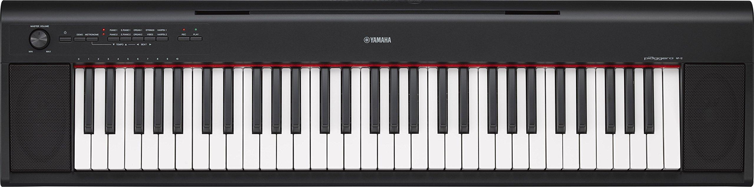 Yamaha NP12 61-Key Lightweight Portable Keyboard, Black (power adapter sold separately) by YAMAHA