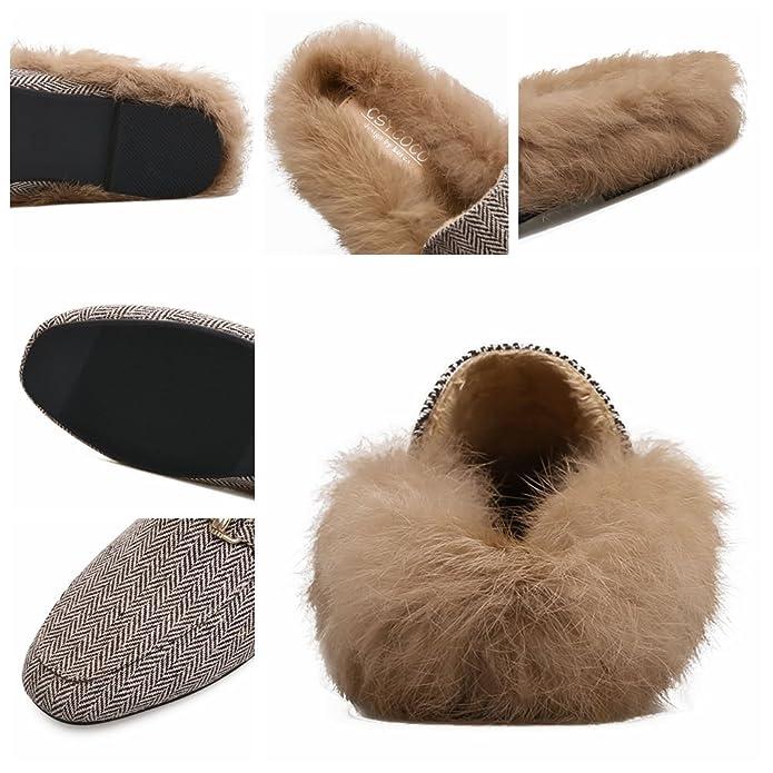 Herbst und Winter Frauen Künstliche Kaninchenfell Flache Ferse Schuhe Außerhalb Hausschuhe Warme Handgemachte Hausschuhe 35-40 yards (35) 17zrQa