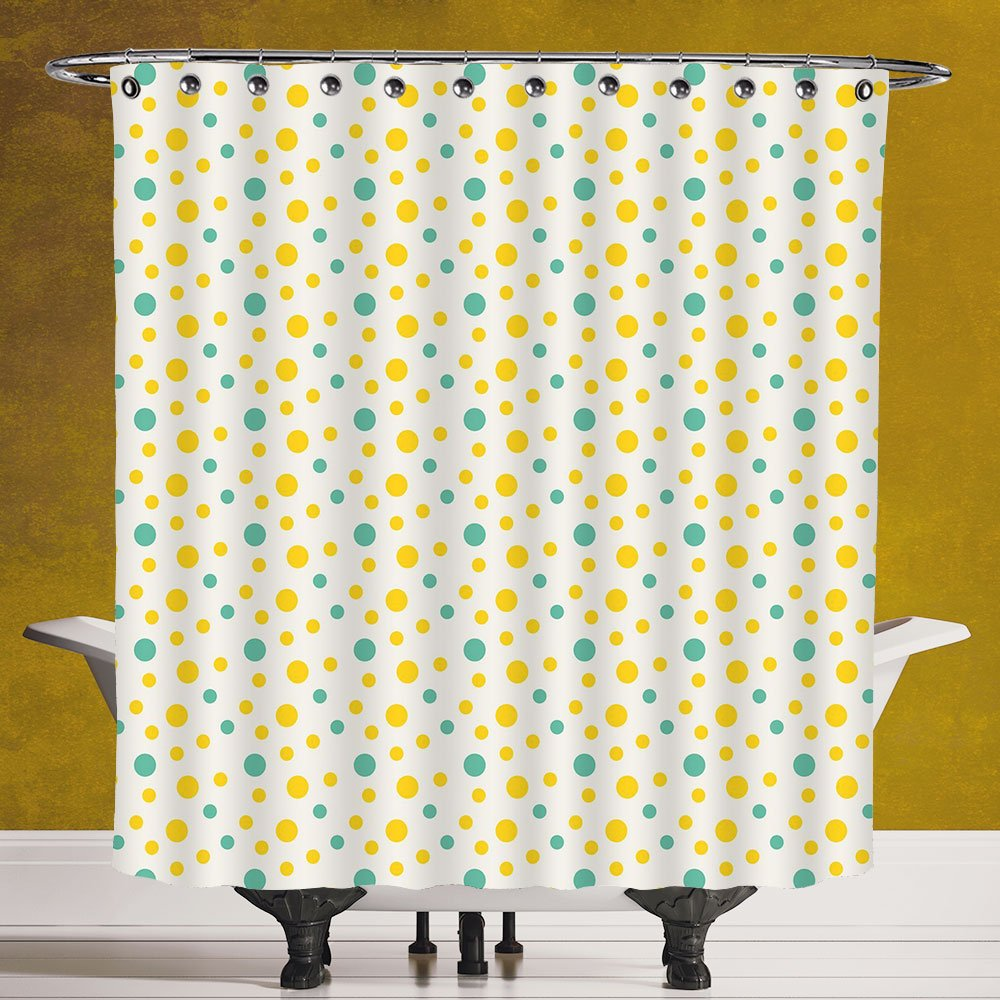 Stylish Shower Curtain 3.0 [Geometric,Various Sized Dotted Pattern with Vibrant Tropical Inspirations Holiday Decorative,Seafoam Yellow White] Digital Print Polyester Fabric Bathroom Set