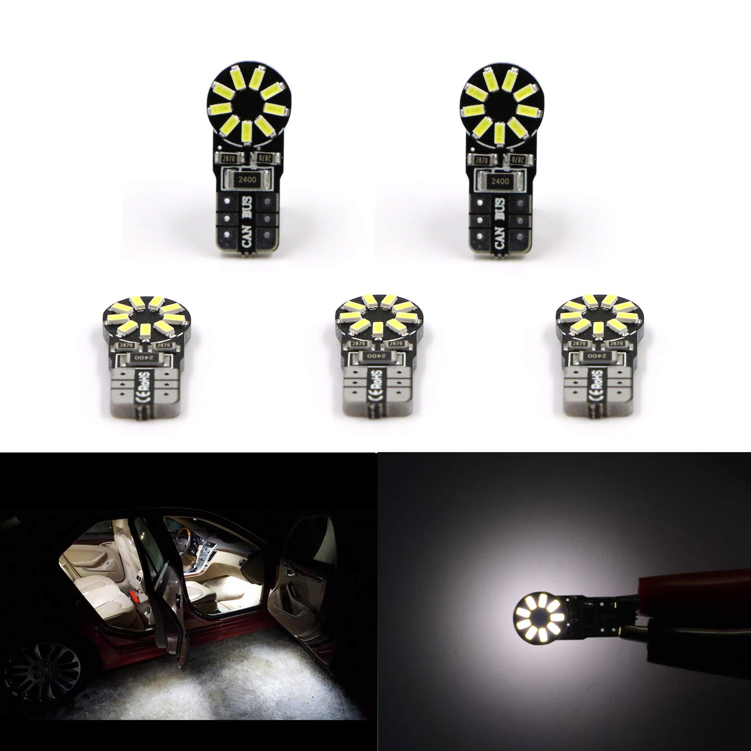 Dantoo Pack of 5 Extremely Bright T10 LED Bulbs 168 2825 W5W 194 Wedge Dome Lights 3014 Chipset 18 SMD 6000K Xenon White Light Lamp for for Car Interior Map License Plate Trunk Parking Light