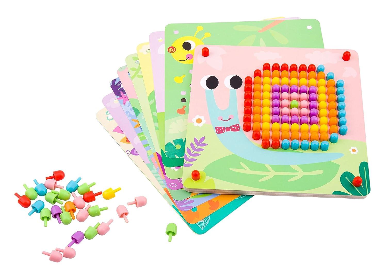 TINOTEEN Mosaik Steckspiel f/ür Kinder Lernspielzeug Steckmosaik mit 50 Steckperlen und 18 Bunten Steckpl/ätte