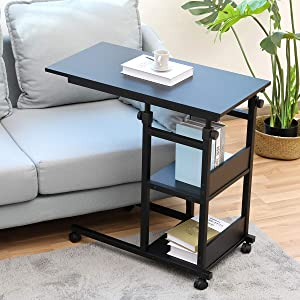"""Side Table with Wheels, Bonzy Home Snack Side Table with Castors Mobile End Table Easy to Assemble C Table for Coffee Laptop (31.5"""")"""
