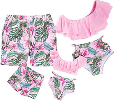 Mommy and Me One Piece Floral Swimsuit Family Matching Swimwear Monokini Bathing Suit Bikini Set