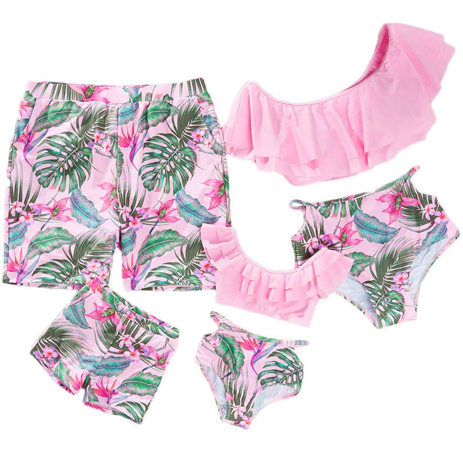 Baby Girls 2 piece Tankini Set in Pink White with multi Spot detail.