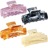 4 Pcs Hair Claw Clips,Acrylic Hair Banana Barrettes, Rectangular Tortoise Shell Celluloid French Butterfly Jaw Clips, Hold St