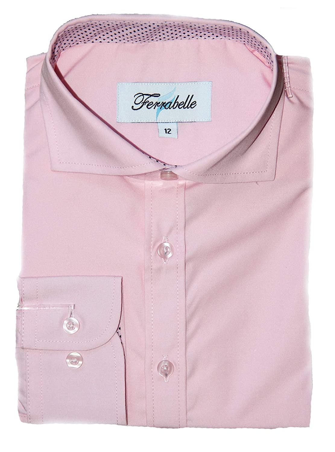Ferrabelle Boys Solid Dress Shirt - Button Down Long Sleeve with Trim