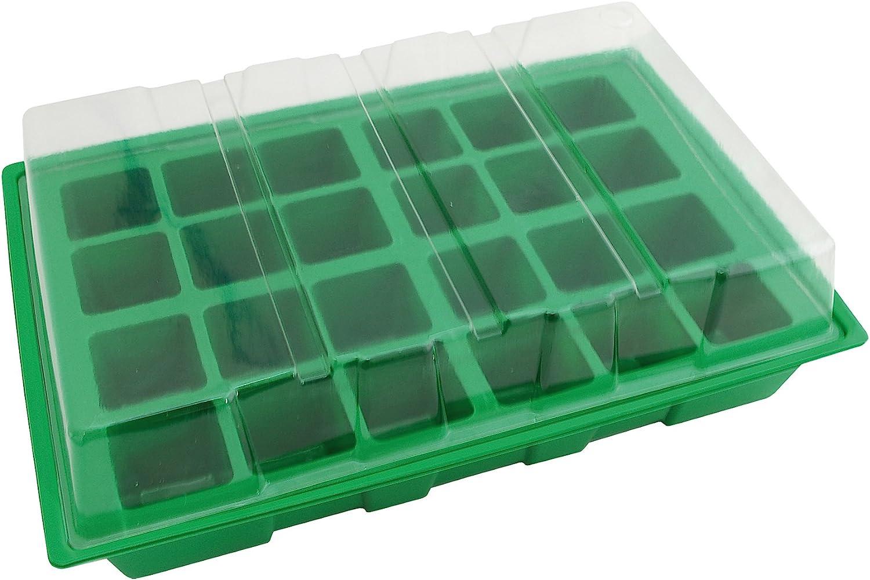 Biotop Kit semillero de plástico de 24 macetas de 4 x 4 cm (con Tapa y Bandeja, 35 x 23,5 cm), B2011