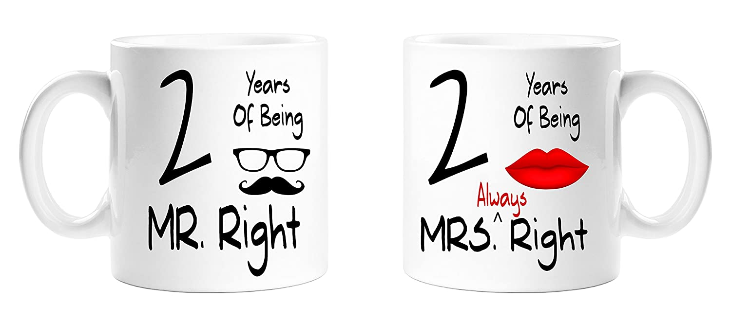 2 Years Of Being Mr Right & Mrs Always Right Novelty Anniversary Gift Mugs - 2nd Anniversary - Mr and Mrs Always Right Couples Mug Set - Perfect Gift for Christmas, Anniversary Top Sale