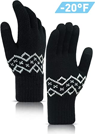 Warm Gloves Mens Winter Wool Touch Screen Thick Windproof and Cold