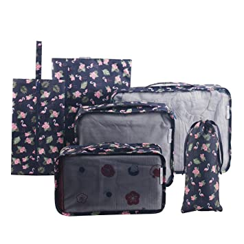 70a8e4d648ec Tuscall Packing Cube Set 6pcs Travel Luggage Packing Organiser for  Backpack, Carry on Luggage (Flamingo)
