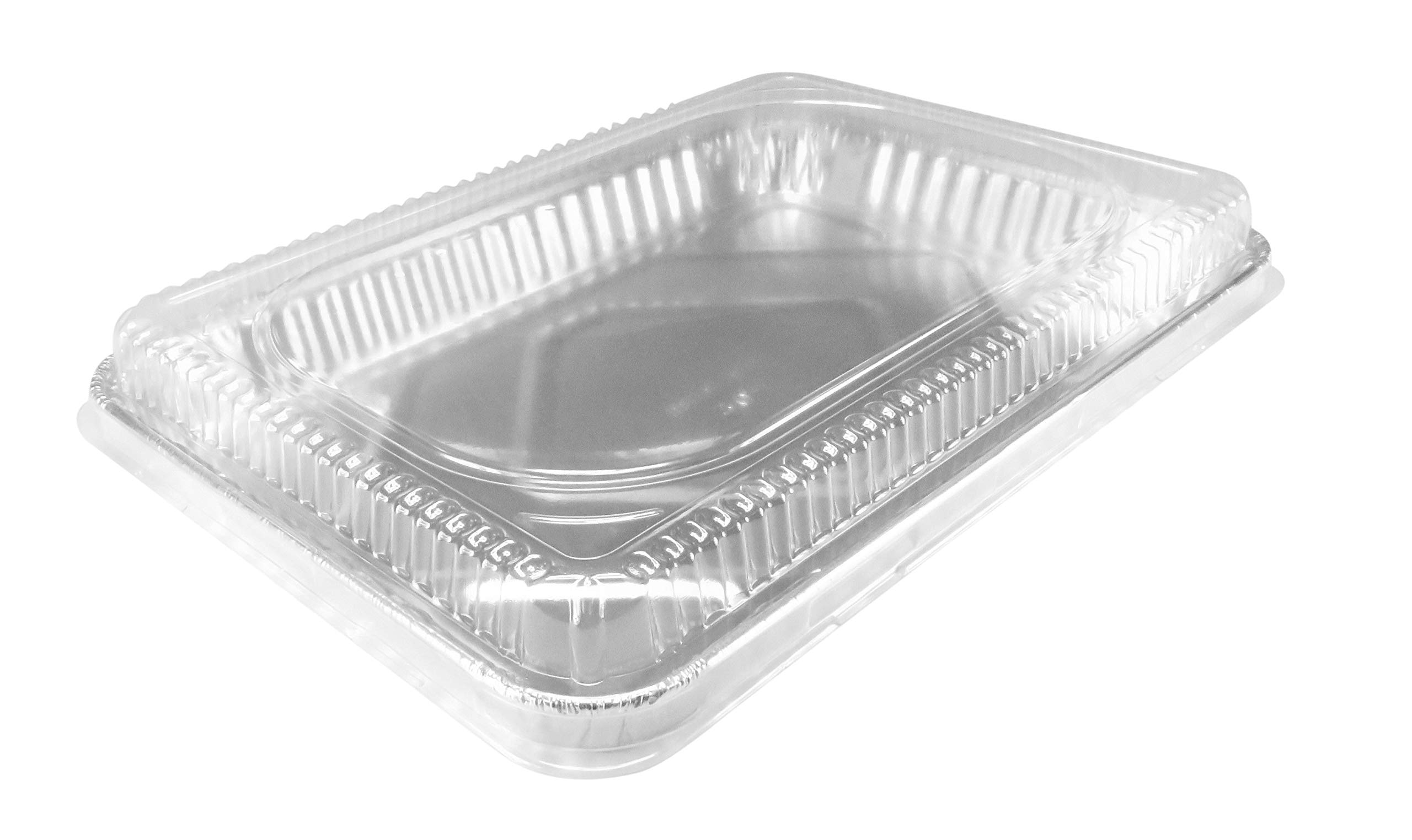 KitchenDance Disposable Aluminum 13 x 9 x 2 Cake pans with Lids- Pack of 12 pans & 12 Lids by KitchenDance