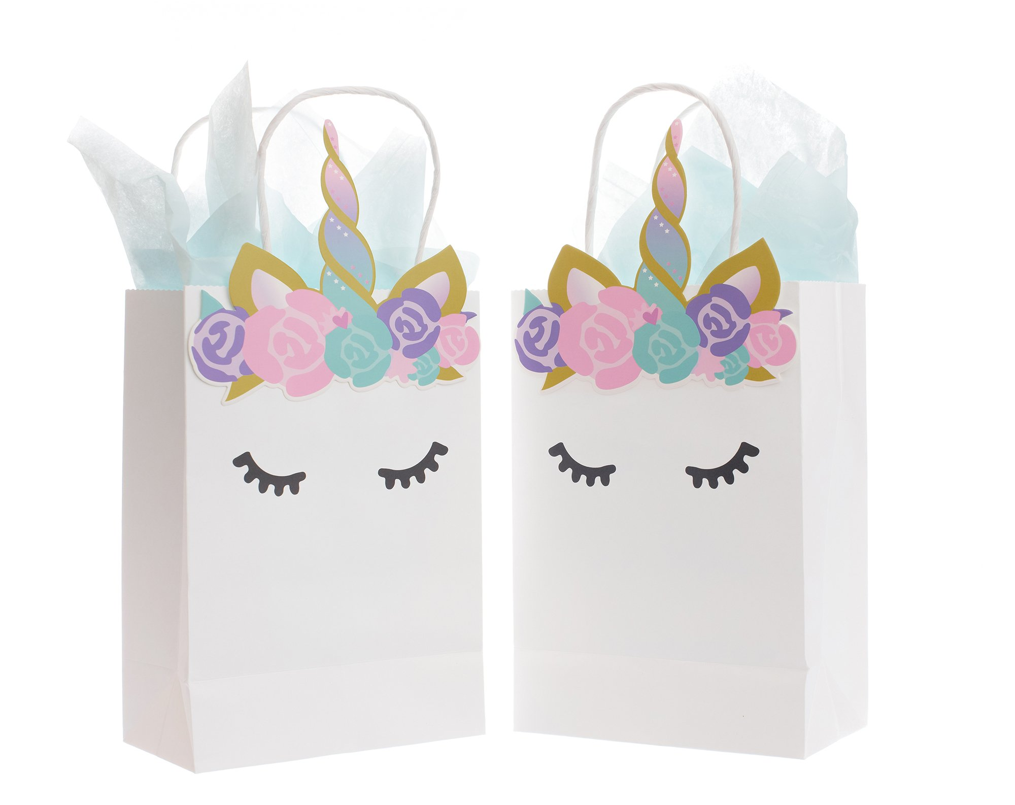 Quokkaloco Unicorn Party Bags for Favors, Gifts, Treats & Goodies (Set of 10) - Wedding, Shower, Birthday Party Supplies - Small Bags with Woven Handles, Handcrafted Flowers, Horn, Ears Art (White)