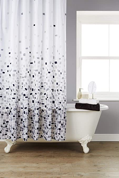 220 cm Sfondo Bianco con 12 Ganci per Tende Ideale per vasche Rotonde 220 x 180 Poliestere, ECC docce ad Angolo KAV Vibrant Mosaic Grey Extra Wide