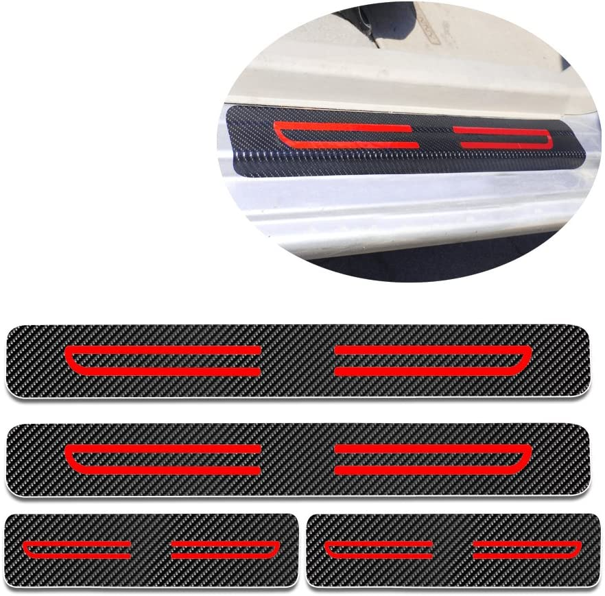 Car Door Sill Scuff Plate Guard Sills Protector Trim Carbon Fiber Stickers+White High Intensity Reflective Tape For 2005-2010 Chrysler 300 4pcs