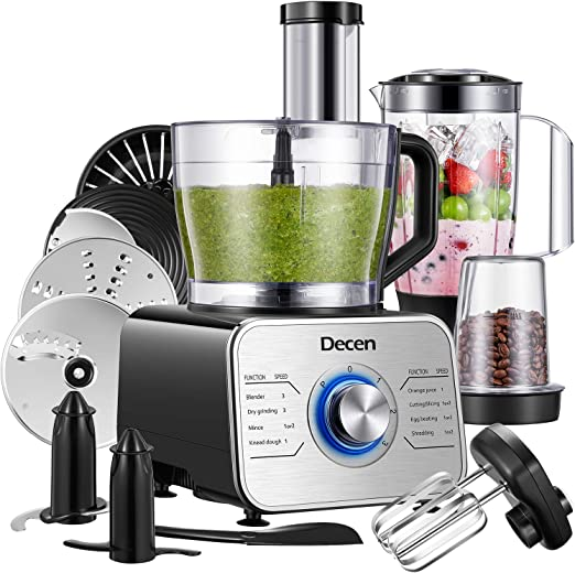 Decen 1100W Procesador de Alimentos/ Robot de Cocina con 14 Accesorios, 3 Modos de Velocidad y Funciones de Pulso, Capacidad 3.5 Litros, Negro: Amazon.es
