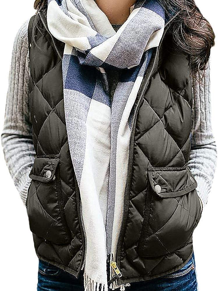 TOTOD Womens Lightweight Sleeveless Stretchy Drawstring Jacket Pocket Vest with Zipper