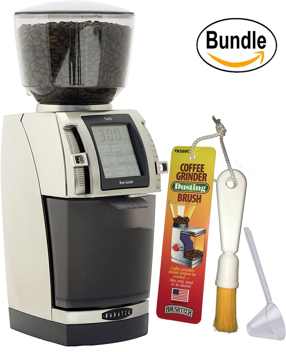 Baratza Forte BG (Brew Grinder) - Flat Steel Burr Commercial Grade Coffee Grinder, Brushtech Coffee Grinder Dusting Brush & Zonoz One-Tablespoon Plastic Clever Scoop (Bundle) by Baratza (Image #1)