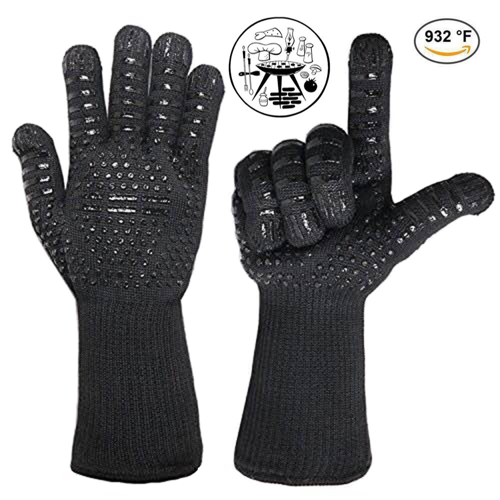 BBQ Gloves 932°F Extreme Heat Resistant Oven Gloves EN407 Certified BBQ Gloves For Cooking Grill Baking Microwave High-Temperature Anti-Hot Gloves Extended Long Cuff (1 Pair) (Black2)