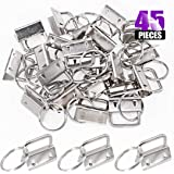 Swpeet 45Pcs Sliver 1 Inch Key Fob Hardware with Key Rings Sets, Perfect for Bag Wristlets with Fabric/Ribbon/Webbing…