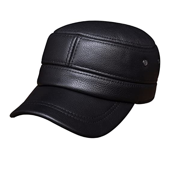 c298dbdec7bfbc Image Unavailable. Image not available for. Colour: Haisum Men's Sport PU Leather  Adjustable Hat Flat Peak Snapback Baseball Caps