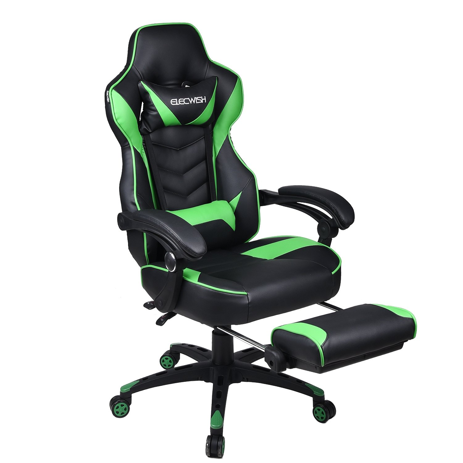 Gaming Chair Black Green for Adults with Footrest,High Back Swivel Computer Office Chair with Pillows and Lumber Support by PULUOMIS