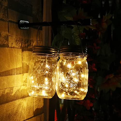 Topfashion+ Battery Powered Operated Led String Starry Light Copper Wire Decorative Centerpiece Lights 60 Leds Warm White Firefly Mason Jars Lighting 6m 20ft set of 2