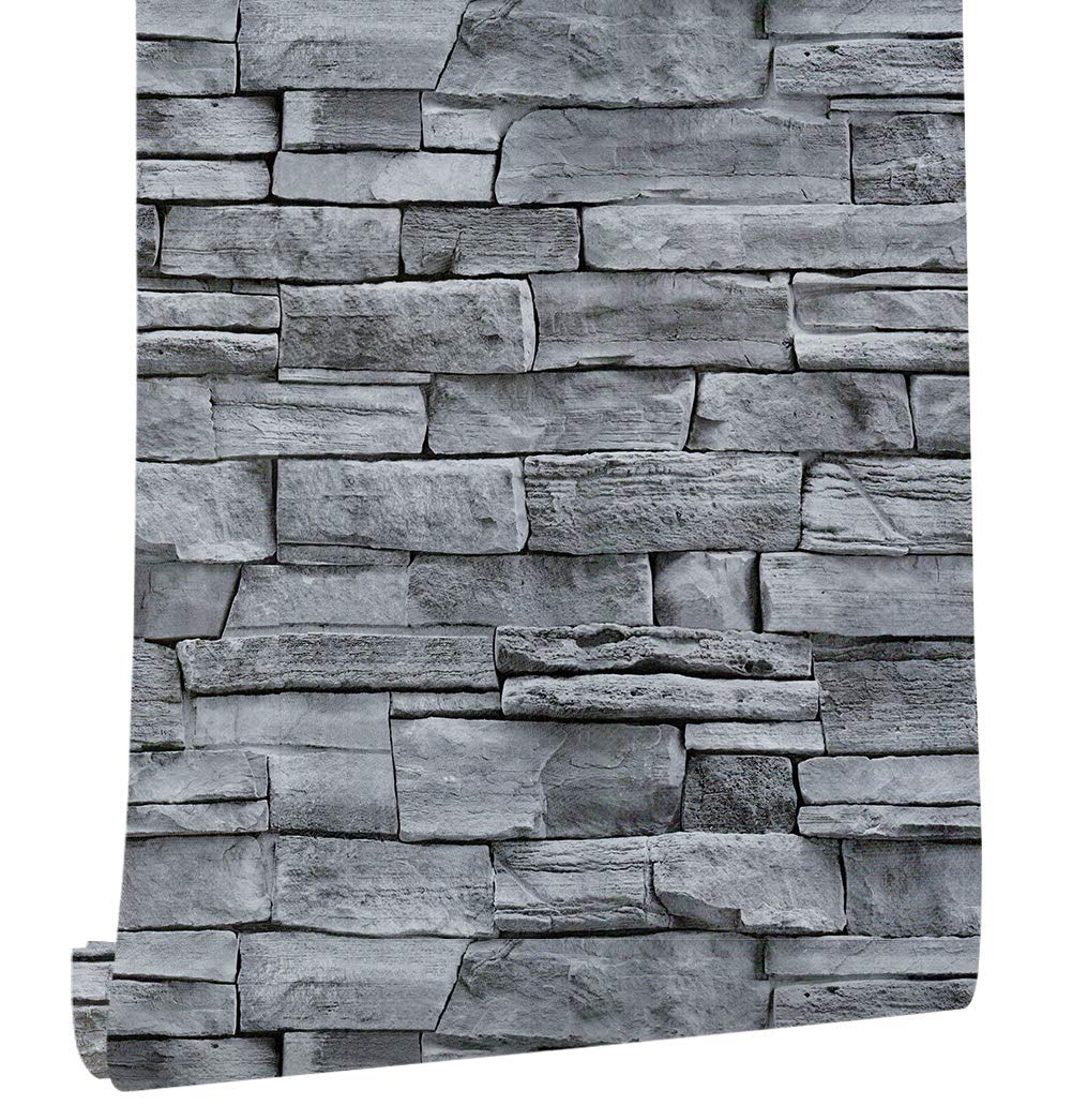 17.71'' Wide x 393.7'' Long Peel and Stick Wallpaper Stone Self Adhesive Wallpaper Easily Removable Wallpaper Brick Wallpaper Waterproof Self-Adhesive Wallpaper Decorative Easy to Apply Peel Stick by practicalWs