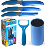 "Kids Knife Set For Cooking – 5 Piece Kids Cook Set in blue – Kids Cooking Supplies, 4.5"" Kids Chef Knife, 4"" Kids Paring…"