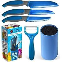 "Kids Knife Set For Cooking – 5 Piece Kids Cook Set in blue – Kids Cooking Supplies, 4.5"" Kids Chef Knife, 4"" Kids Paring…"