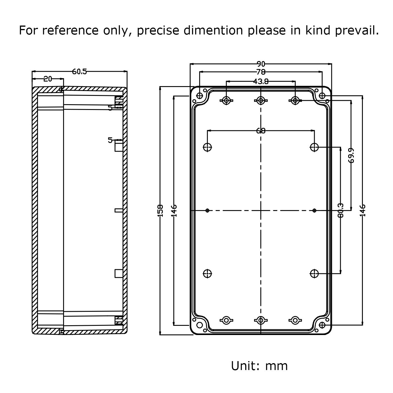 Therlan Waterproof Plastic Junction Project Box ABS IP65 Electronic Enclosure 158 x 90 x 60 mm White