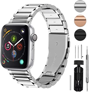 Fullmosa 3 Colores Correa de Acero Inoxidable Compatible con Apple Watch Series 5/4/3/2/1, LUS Series Pulsera Metálica para iWatch 38mm 42mm 40mm 44mm, Plata 40mm: Amazon.es: Electrónica